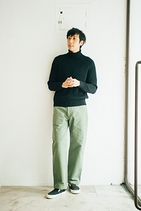 WOOL CASHMERE RIB KNIT TURTLE NECK P/O 粗針高領毛衣