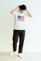 US FLAG棉麻短袖上衣