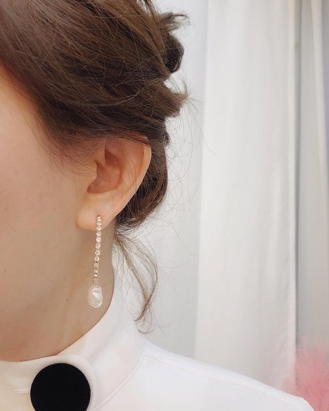 911135 半圓細鑽珍珠耳環