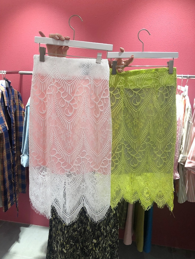 914041 細緻蕾絲半裙 - 粉橘