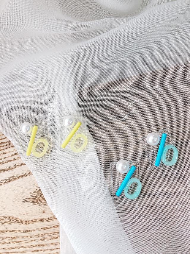 916117 珍珠幾何彩色耳環 - 黃
