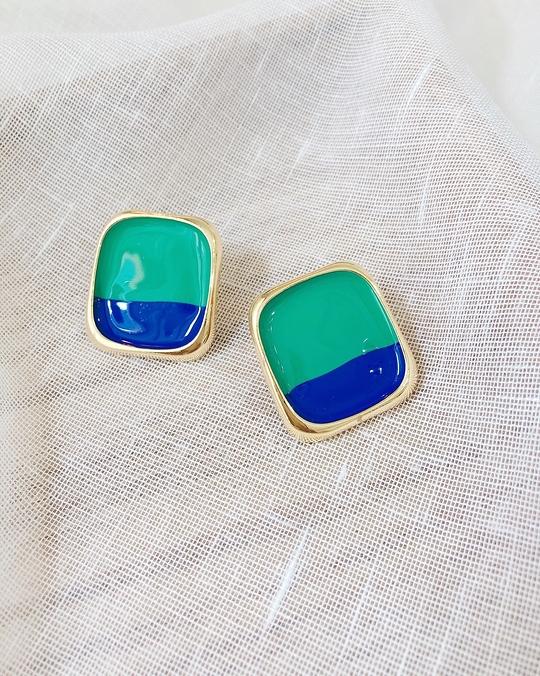 916124 復古金屬雙色耳環 - 綠