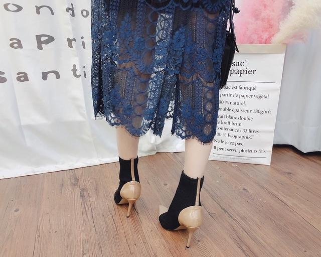 911073 雙層華麗蕾絲裙 - 藍