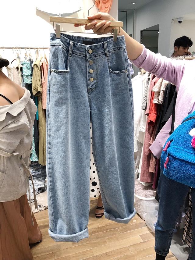 915069 時髦排釦直筒褲