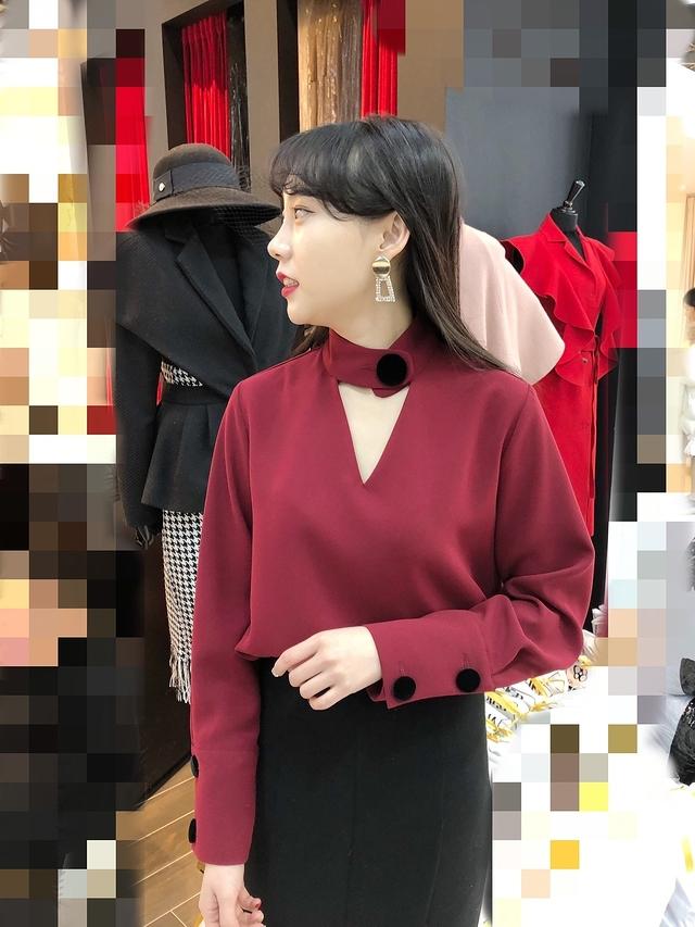 911068 金秘書氣質襯衫 - 紅