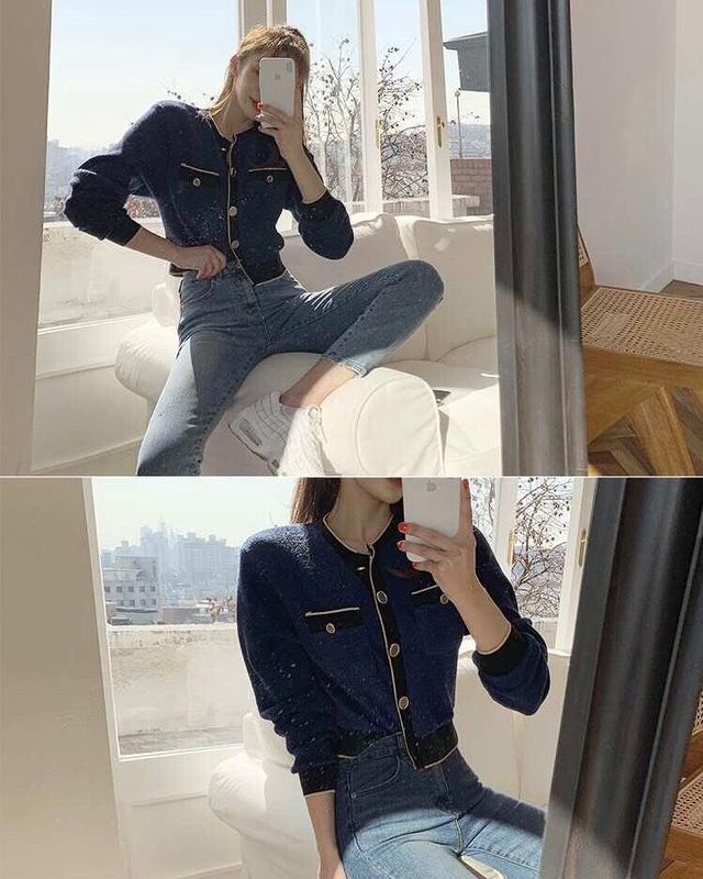 913003 coco針織外套 - 藍