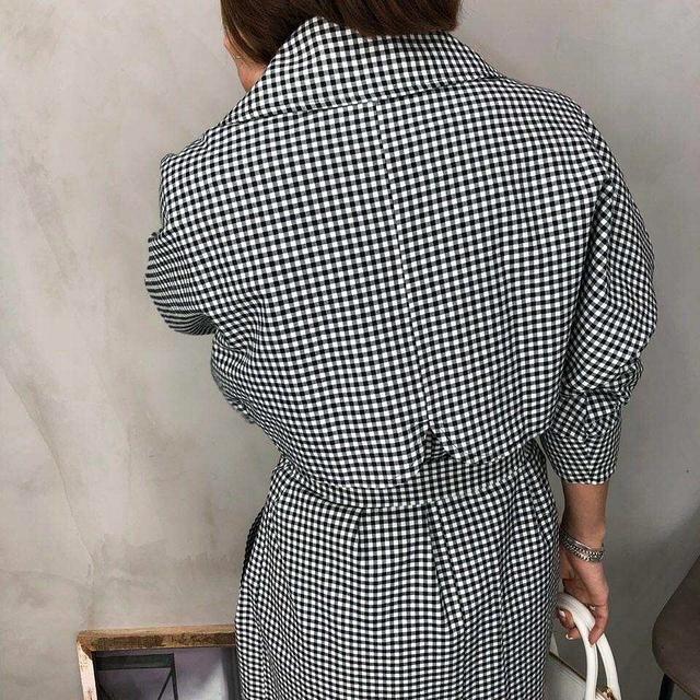 913087 袖可拆兩穿黑白格風衣外套