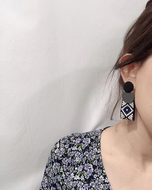 914166 包釦編織圖騰長形耳環