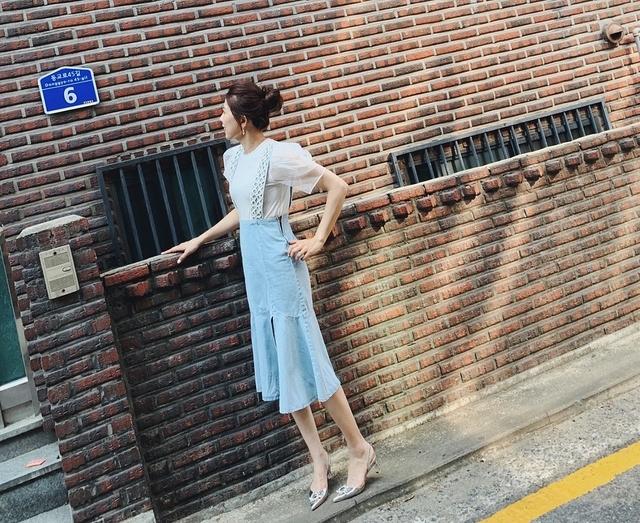 916045 造形紗袖圓領tee - 四色