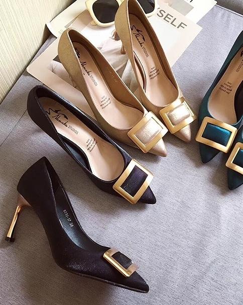 912005 法式優雅金跟高跟鞋 - 三色