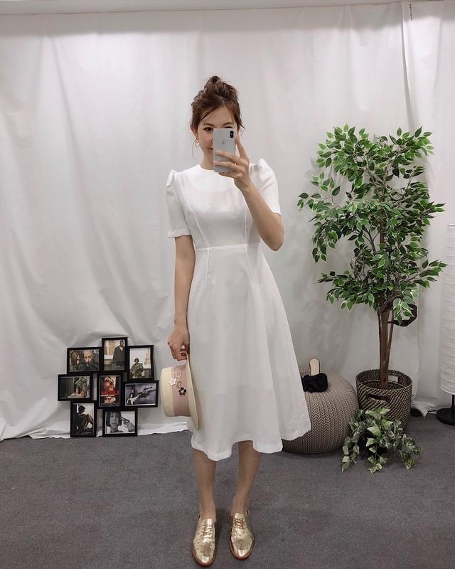 913065 氣質修身麻料洋裝 - 四色