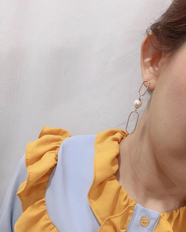 913111 雙環珍珠耳環