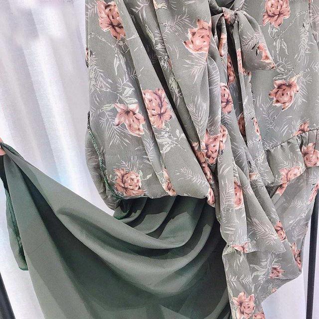 918019 浪漫花朵綁戴雪紡洋 - 三色