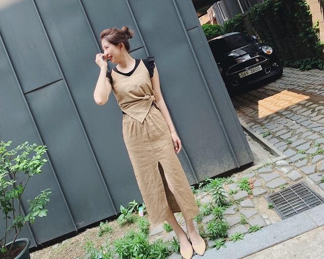 916085 時尚麻料套裝 - 兩色