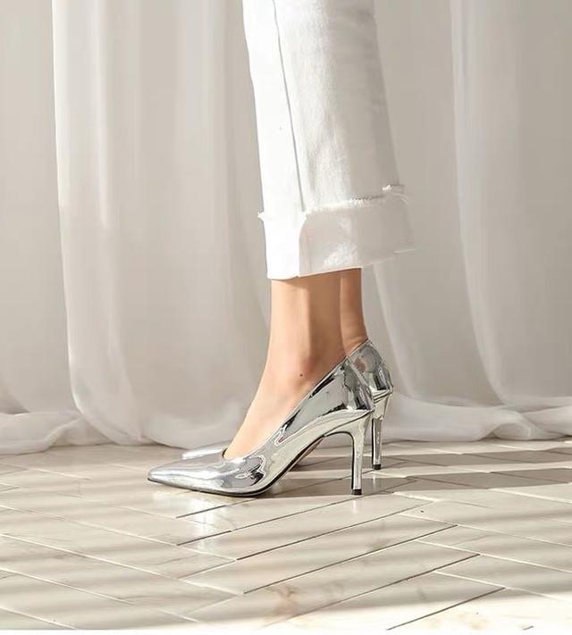 915502 時髦亮面銀色高跟鞋 - 8cm 尺寸38 展示鞋