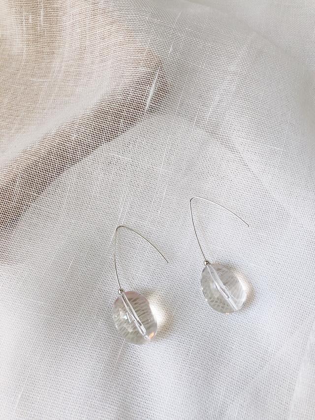 916123 透明水晶金屬耳環