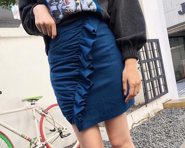 81B010 毛尼抓皺短裙 - 藍