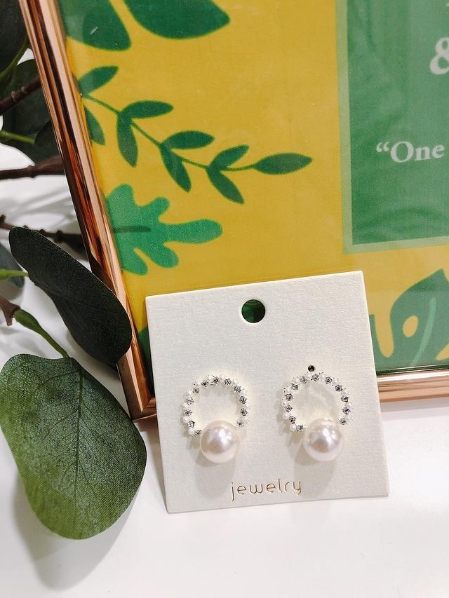 913117 細緻小鑽珍珠耳環