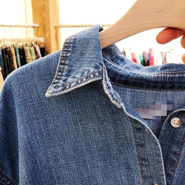 913060 袖造型丹寧襯衫