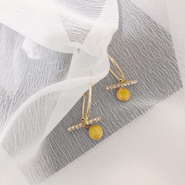 915124 金屬環狀細鑽耳環 - 粉