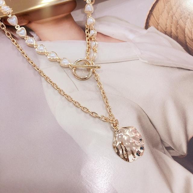 713077 金色貝殼珍珠項鍊