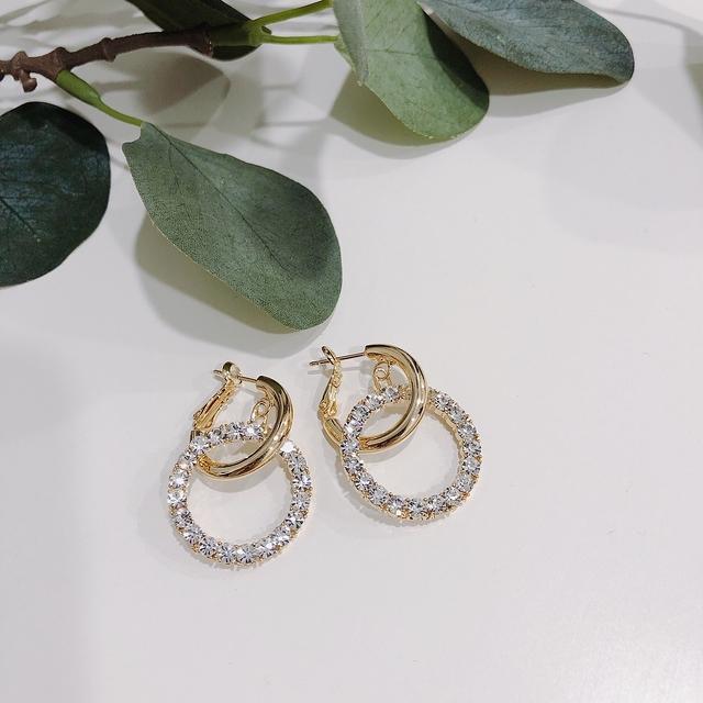 913101 氣質雙環耳環 - 兩款