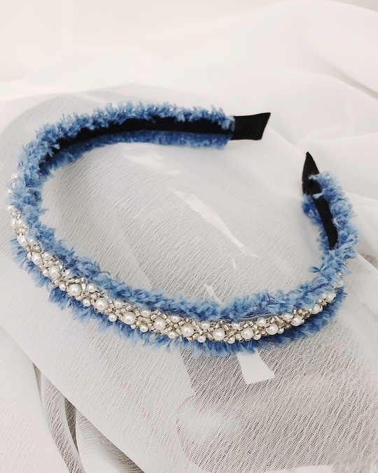 915170 珍珠單寧抽鬚髮圈