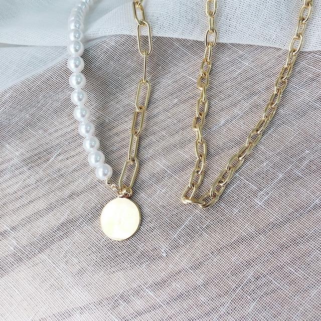 916143 圓幣珍珠金色項鍊