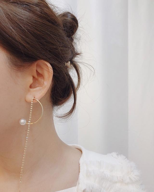 911118 金屬半圓珍珠長鑽耳環