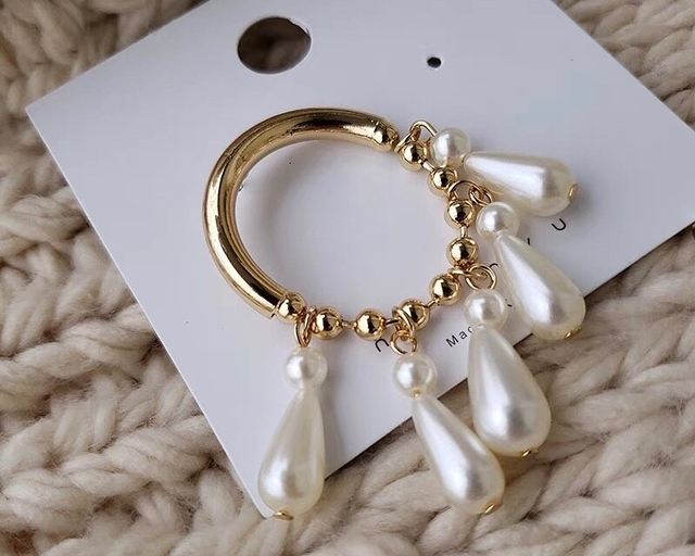 81B151 珍珠流蘇耳環