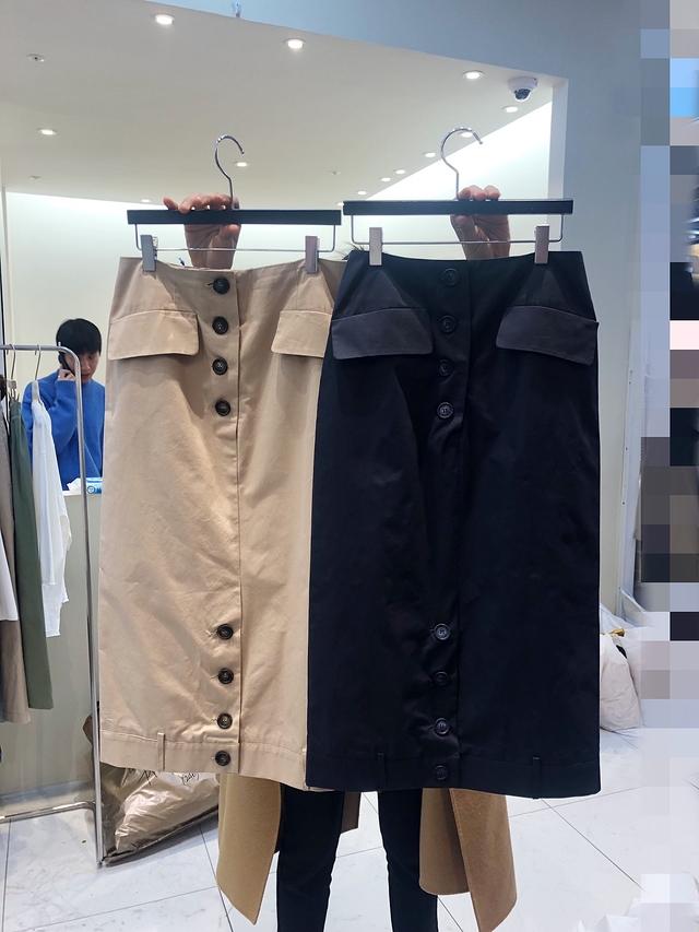 913049 直排釦顯瘦鉛筆裙 - 兩色