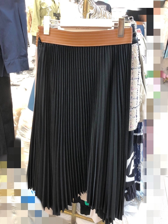 913078 皮革腰帶重磅不規則裙襬百褶裙 - 藍色