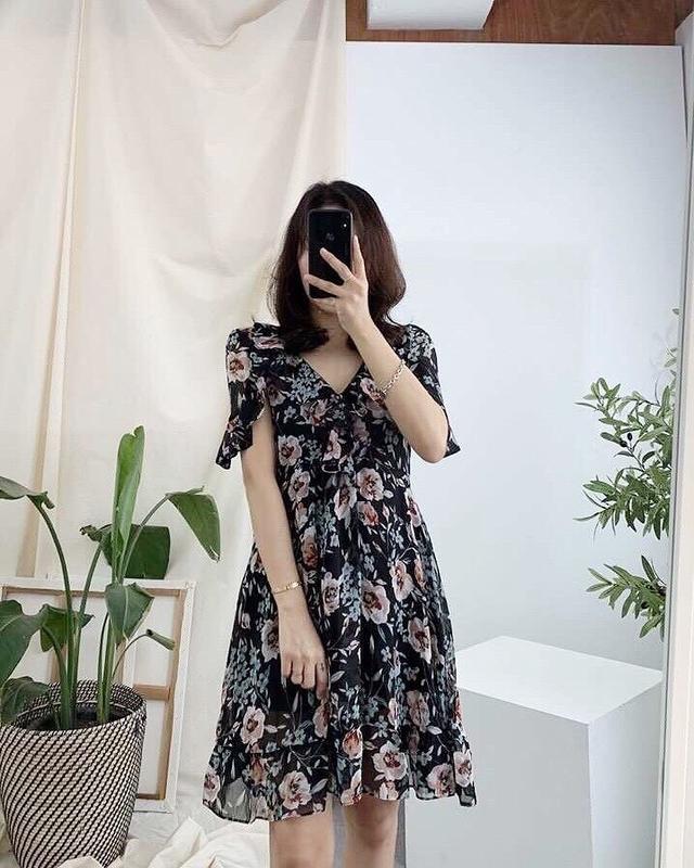 915099 玫瑰雙層雪紡洋裝 - 黑色