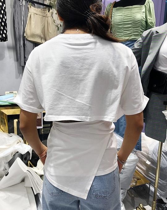 914025 後綁帶造型棉tee - 黑色
