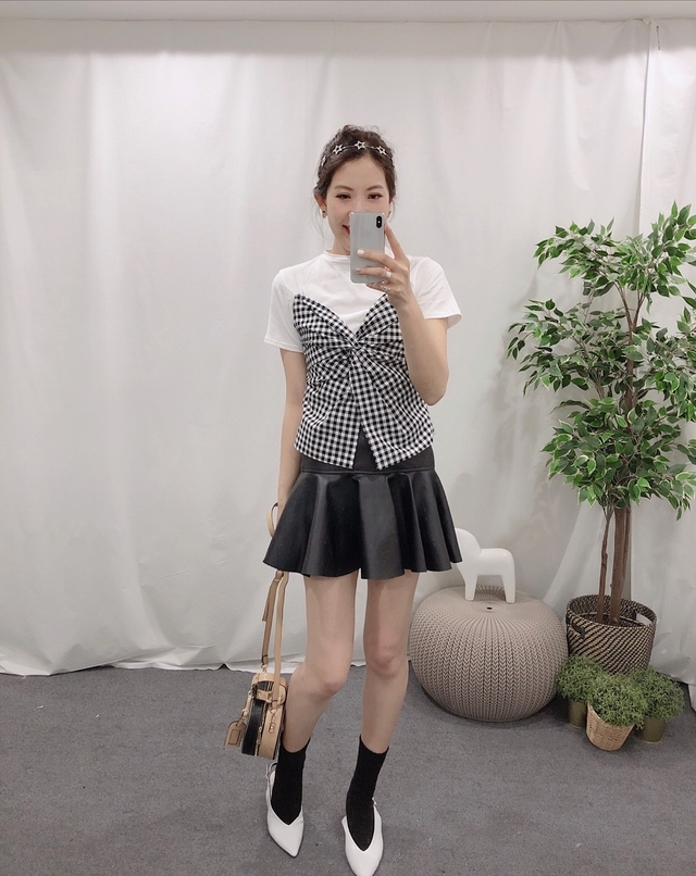 914008 波浪皮裙 - 咖 S