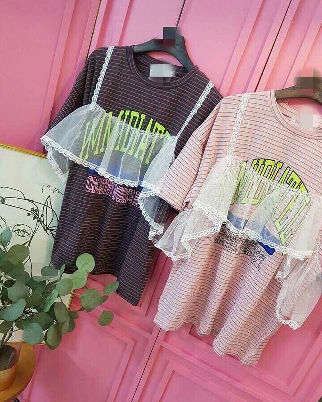 913001 假兩件蕾絲條紋上衣 - 粉紅