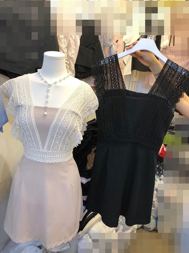817032 唯美蕾絲連身褲裙 - 黑