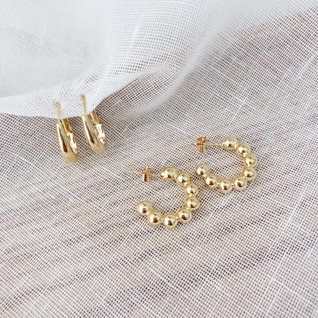 916151 金色珠珠環狀耳環兩件組