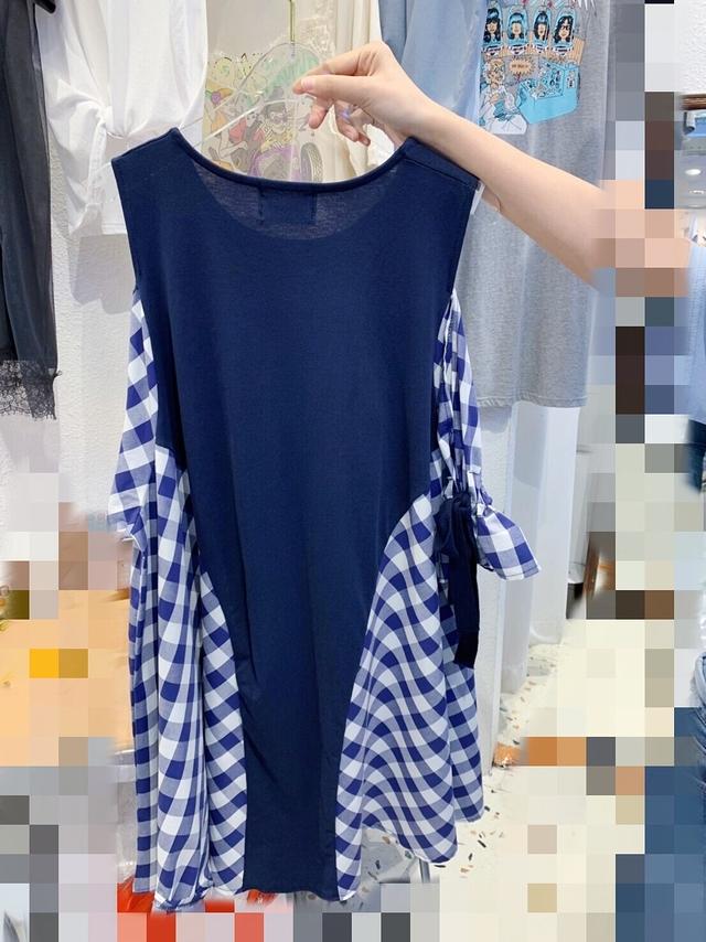 717028 可愛袖綁帶拼接洋 - 白