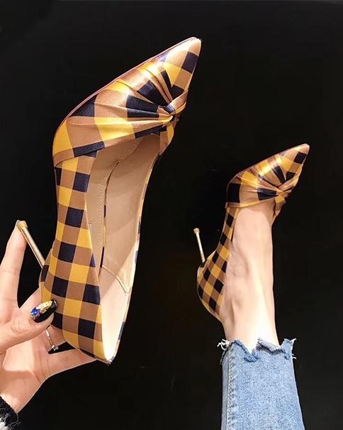 912001 格紋金跟高跟鞋 - 兩色