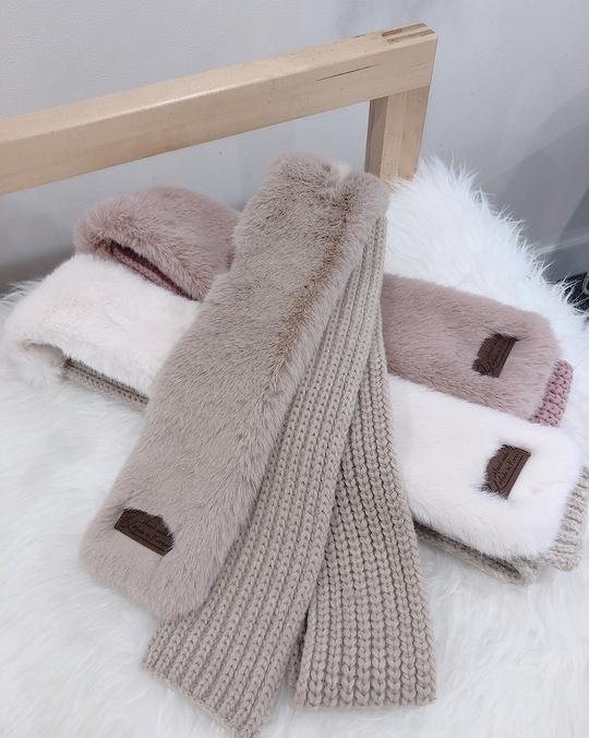81B072 粗毛線毛毛圍巾 - 三色