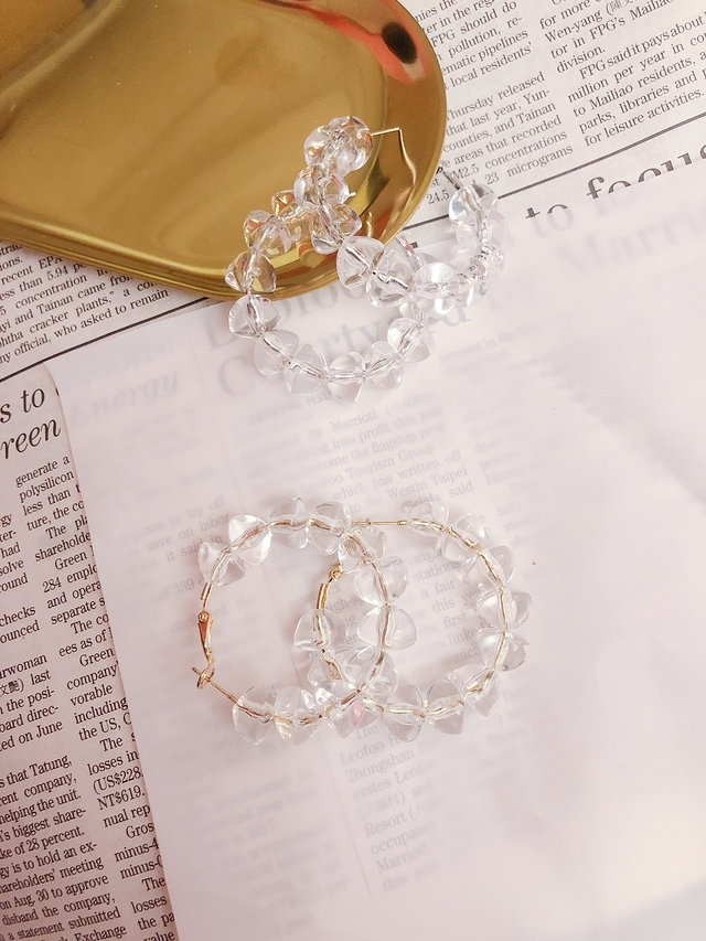 713085 透明珍珠環狀耳環-兩色