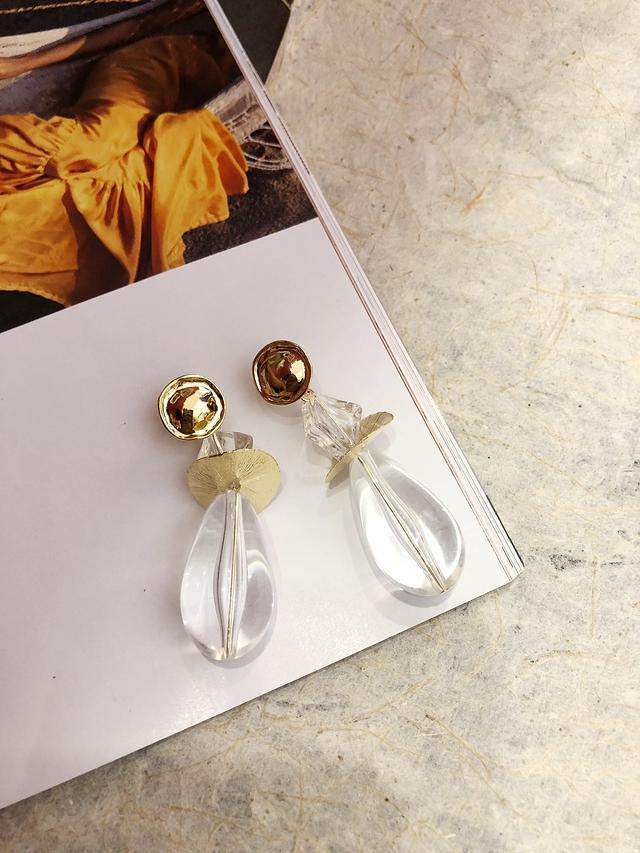 713089 透明感金屬拼接耳環-兩色