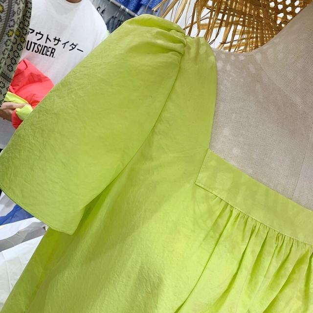 713040 簡單乾淨方領麻料長洋 - 螢光黃/西瓜紅