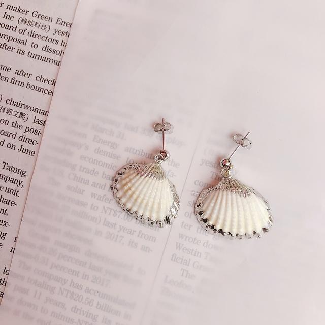 713081 氣質貝殼耳環-兩色