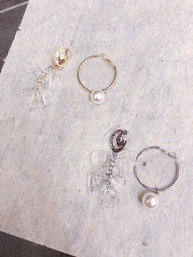 713080 金屬珍珠環狀耳環-二色