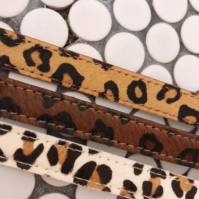 819069 豹紋真皮皮帶 - 焦糖