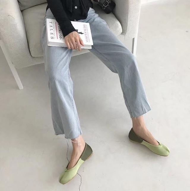 918006 法國老奶奶拚色平底鞋 - 橘 24