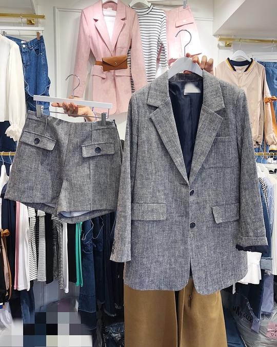 913069 俐落剪裁棉麻西裝+短褲(外套不分尺寸)