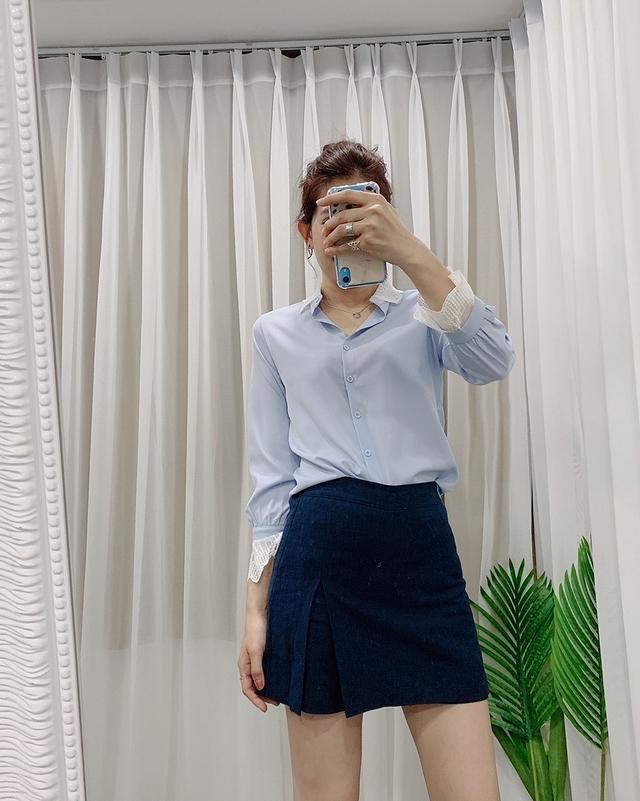 915008 實搭棉麻褲裙(後鬆緊) - 藍色